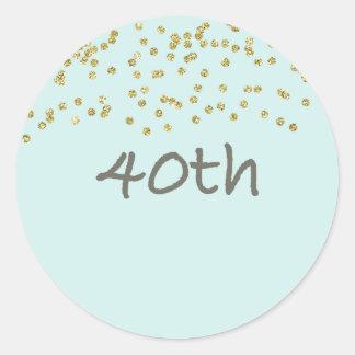 de 40ste Confettien van de Verjaardag Ronde Sticker