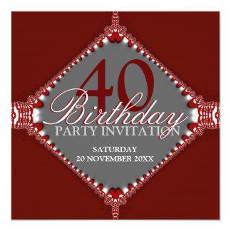 de 40ste Donkerrode & Grijze Elegante Partij van 13,3x13,3 Vierkante Uitnodiging Kaart