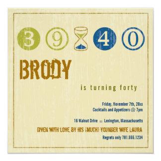 de 40ste Uitnodiging van de Verjaardag - pas aan 13,3x13,3 Vierkante Uitnodiging Kaart