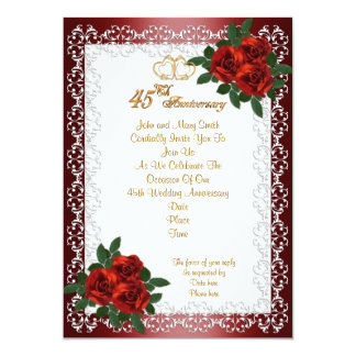 de 45ste uitnodigings rode rozen van de kaart