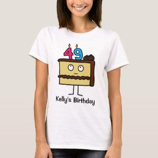 de 49ste Cake van de Verjaardag met Kaarsen T Shirt