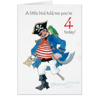 De 4de Verjaardag van de Piraat en van de Papegaai Kaart