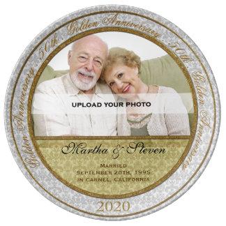 de 50ste Foto van het Jubileum van het Huwelijk Porselein Bord