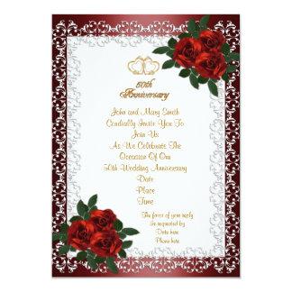 de 50ste uitnodigings rode rozen van het Jubileum 12,7x17,8 Uitnodiging Kaart