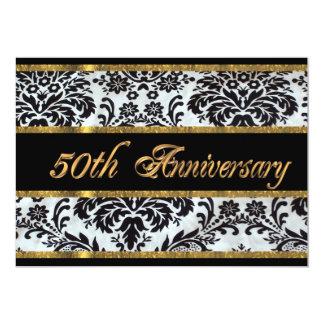 de 50ste uitnodigings zwart damast van de 12,7x17,8 uitnodiging kaart