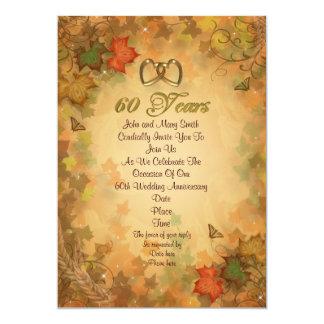 de 60ste bladeren van de de uitnodigingsherfst van kaart