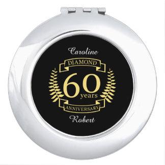 de 60ste gele diamant van het JUBILEUM van het Makeup Spiegeltjes