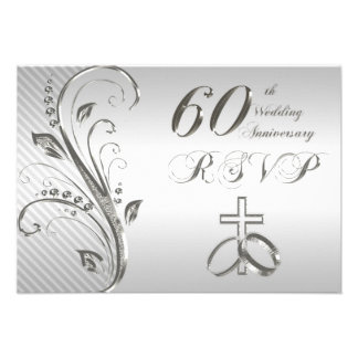 de 60ste Kaart van de Verjaardag RSVP van het Huwe Gepersonaliseerde Uitnodiging