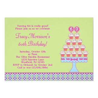 de 60ste Uitnodiging van Cupcakes van de