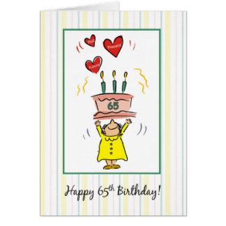 de 65ste Cake en de Harten van de Verjaardag voor Wenskaart