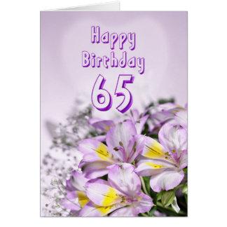 de 65ste kaart van de Verjaardag met de bloemen