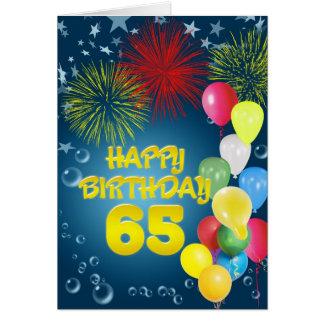 de 65ste kaart van de Verjaardag met vuurwerk en