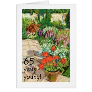 de 65ste Kaart van de Verjaardag - Rode Geraniums