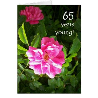 de 65ste Kaart van de Verjaardag - Roze Rozen