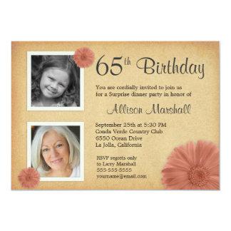de 65ste Partij van de Verjaardag Rustieke Daisy 2 12,7x17,8 Uitnodiging Kaart