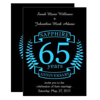 de 65ste SAFFIER van het JUBILEUM van het Huwelijk 12,7x17,8 Uitnodiging Kaart