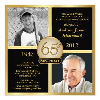 de 65ste Uitnodigingen van de Verjaardag toen nu