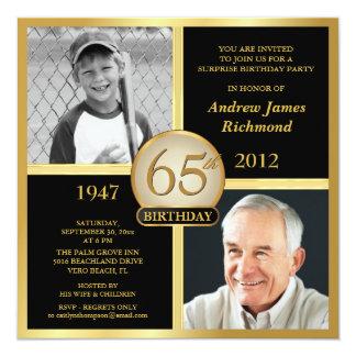 de 65ste Uitnodigingen van de Verjaardag toen & nu 13,3x13,3 Vierkante Uitnodiging Kaart