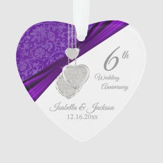 de 6de Herinnering van het Violetkleurige Jubileum Ornament