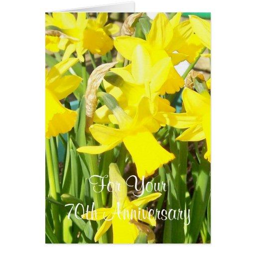 de 70ste Gele narcissen van de Verjaardag van het  Kaart