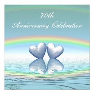 de 70ste Harten van het Platina van de Verjaardag Gepersonaliseerde Uitnodiging