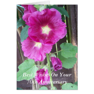 de 70ste Verjaardag Paarse Holyhocks van het Huwel Wenskaarten