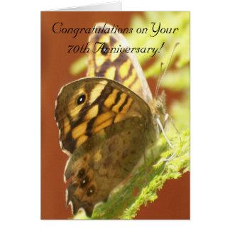 de 70ste Vlinder van het Jubileum van het Huwelijk Wenskaart