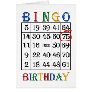 de 75ste kaart van Bingo van de Verjaardag