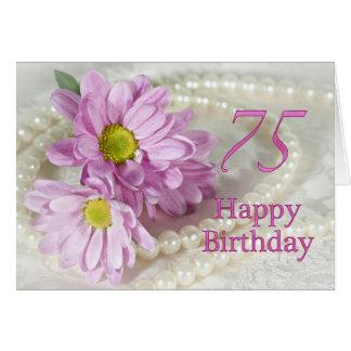 de 75ste kaart van de Verjaardag met madeliefjes