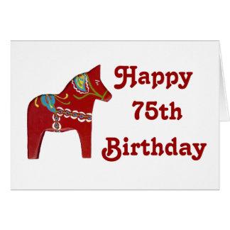 de 75ste Kaart van de Verjaardag met Paard Dala