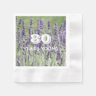 de 80ste Lavendel van de Verjaardag Bloemen Papieren Servet
