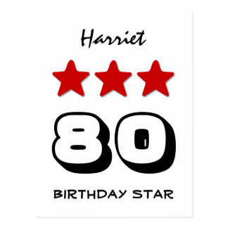 de 80ste Ster van de Verjaardag Rode Zwart-witte Briefkaart