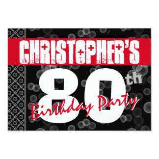 de 80ste Tekst van Grunge van de Verjaardag voor 12,7x17,8 Uitnodiging Kaart