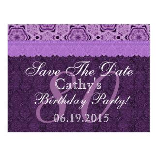 de 80ste Verjaardag bespaart de Datum Paars Antiek Briefkaart