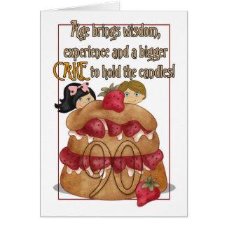 de 90ste Kaart van de Verjaardag - Humeur - Cake