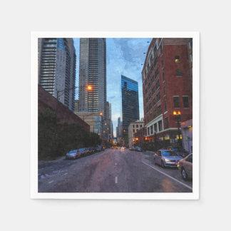 De Aandrijving van de Avond van Chicago Papieren Servetten