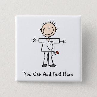 De aangepaste Mannelijke Knoop van de Verpleegster Vierkante Button 5,1 Cm