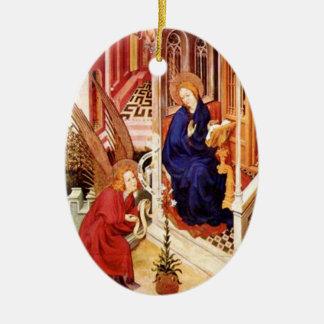 De aankondiging door Melchior Broederlam Kerstmis Keramisch Ovaal Ornament