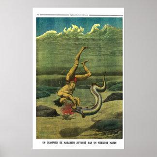 De aanval van de paling - Franse de krantendruk Poster