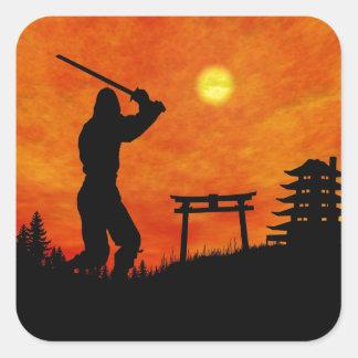 De Aanval van Ninja Vierkante Sticker