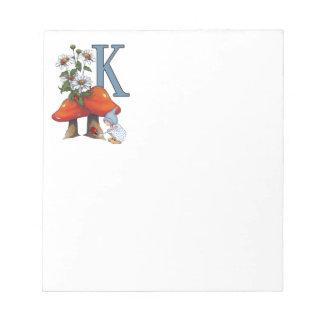 De AANVANKELIJKE Brief K, Giftige paddestoelen, Notitieblok