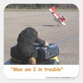 De Aap die van het huisdier het Vliegtuig van Dads Vierkante Sticker