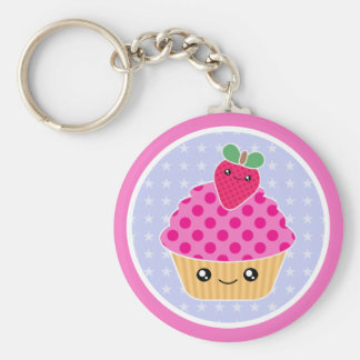 De Aardbei Keychain van Cupcake van Kawaii Basic Ronde Button Sleutelhanger
