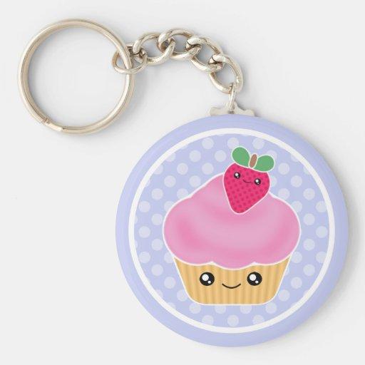 De Aardbei Keychain van Cupcake van Kawaii Sleutel Hanger