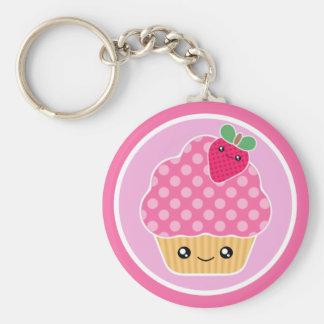 De Aardbei Keychain van Cupcake van Kawaii Sleutelhanger