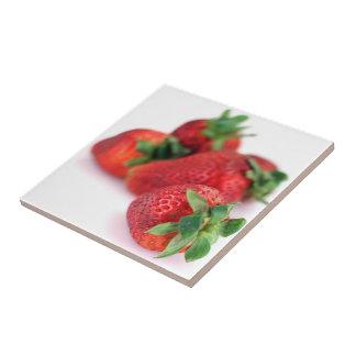De aardbeien sluiten omhoog de Tegels van de Foto Tegeltje Vierkant Small