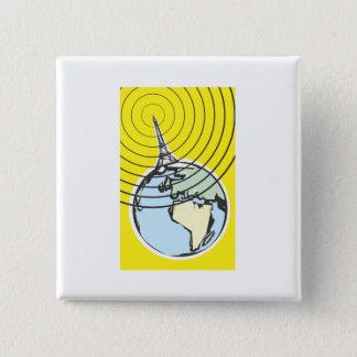 De Aarde van de uitzending Vierkante Button 5,1 Cm