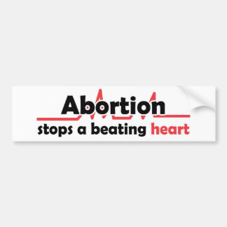 De abortus houdt een afstraffingshart tegen bumpersticker