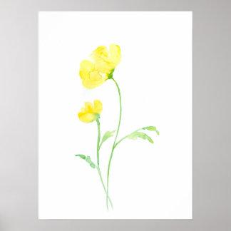 De Abstracte Gele Papaver van de waterverf Poster