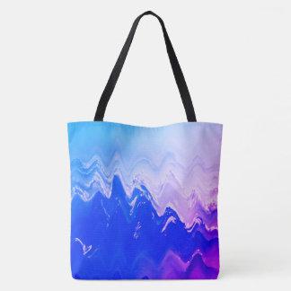 De abstracte golven blauwe paarse branding van het draagtas